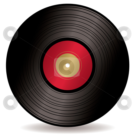LP record album stock vector clipart, Old fashioned Long play record with red label and drop shadow by Michael Travers