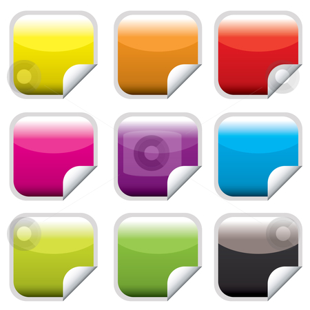 Square web button bright stock vector clipart, Bright colored square web buttons with corner curl by Michael Travers
