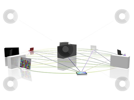 Computer network stock photo, Conceptual computer network in circle by Mile Atanasov