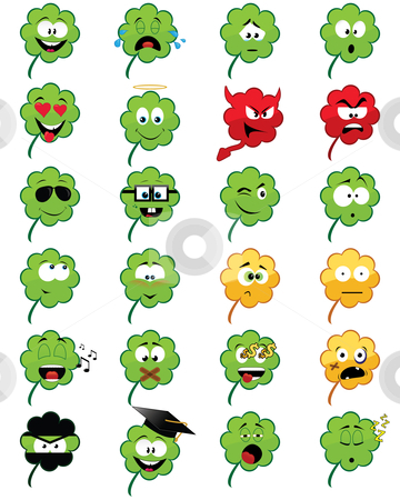 Clover-shaped emoticons stock vector clipart, Collection of 24 clover-shaped smiley faces - vector illustrations by Nikola Stulic