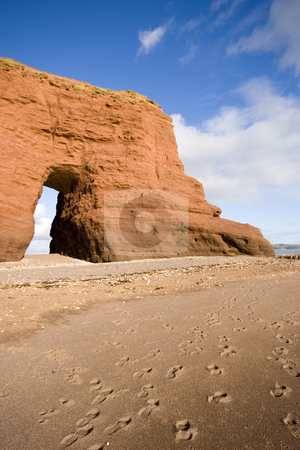 Dawlish, Devon stock photo, Langstone Rock on the beach in Dawlish, Devon by Martin Garnham