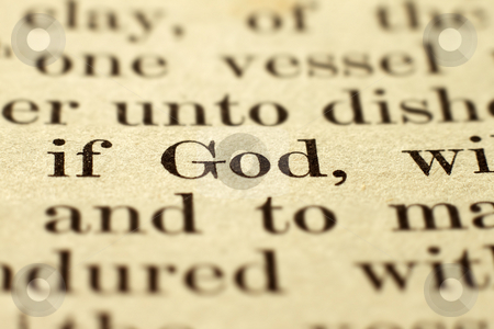 Shallow focus on the word God in a vintage Bible. stock photo, Shallow focus on the word God in a vintage Bible. by Stephen Rees