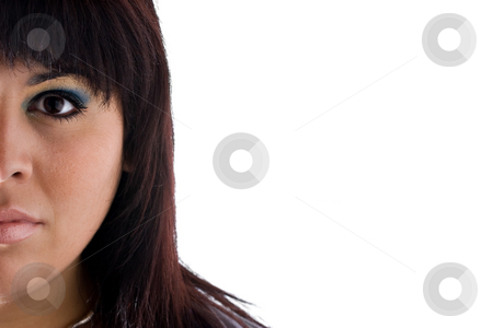Half of Her Face stock photo, A young Spanish model isolated over white with copyspace. by Todd Arena