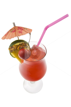 Mai Tai Cocktail onn a white background stock photo, Mai Tai mixed drink with fruit and umbrella garnish on whte background by Gabe Palmer