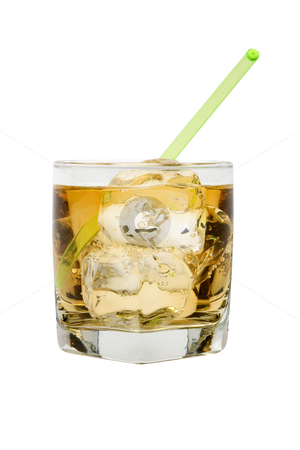 Scotch and Water stock photo, Scotch and water on the rocks on white background by Gabe Palmer
