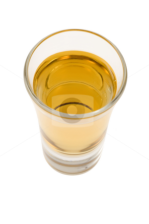 Shot of Whiskey stock photo, Whiskey neat in shot glass on white background by Gabe Palmer