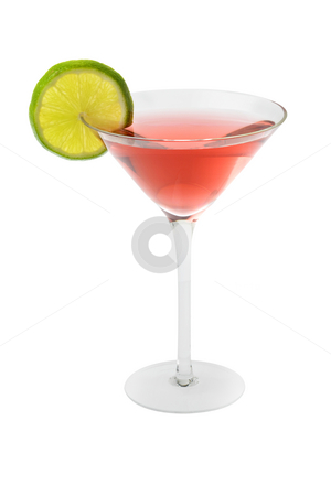 Cosmopolitan cocktail with lime slice stock photo, Cosmopolitan mixed drink with lime slice on a white background by Gabe Palmer