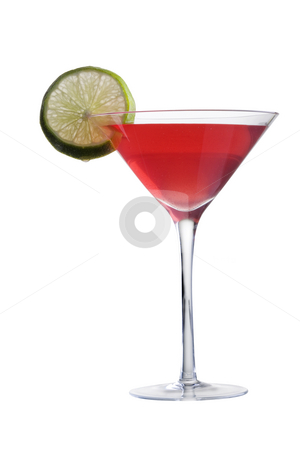 Cosmopolitan cocktail stock photo, Cosmopolitan mixed drink with lime slice on white background close up by Gabe Palmer