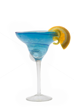 Blue Hawaiian Cocktail stock photo, Blue Hawaiian mixed drink with orange and lemon garnish on white background by Gabe Palmer