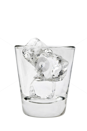 Empty glass tumbler with ice cubes on a white background stock photo, Empty old fashioned glass with ice cubes on a white background on a white background by Gabe Palmer