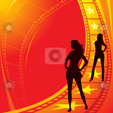 Become movie stars stock vector clipart, Sexy girls at track to become movie stars by Oxygen64