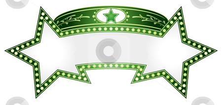 Double star stock vector clipart, Green neon in shape of two combined stars by Oxygen64