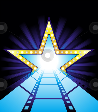 Road to Hollywood stock vector clipart, Fame star at the end of film road by Oxygen64