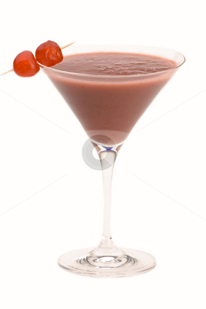 A red cocktail  stock photo, A red cocktail with cherry's against a plain background by Martin Garnham