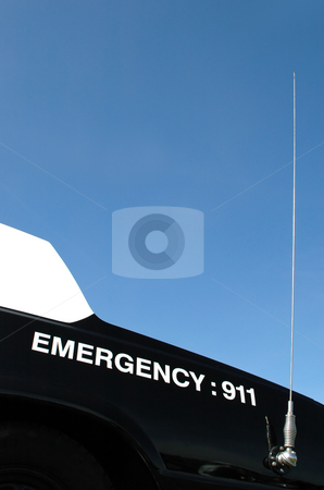 Emergency 911 stock photo, Emergency 911 on the trunk of a US police car by Steve Mann