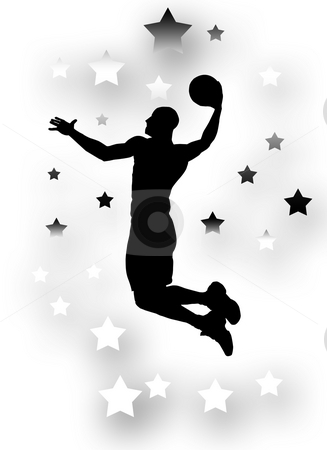 Basket Player stock photo, Silhouette of a basket player jumping by Superdumb