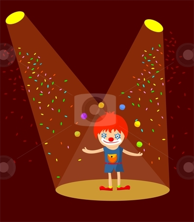 Clown juggling stock vector clipart, Cartoon clown juggling with 6 colorful balls in the spotlight. by Zsofia Szegedy