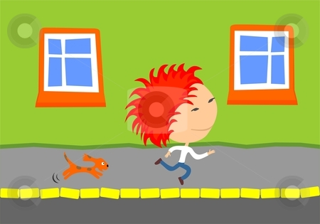Dog chasing kid stock vector clipart, Cute little dog chasing a running kid. by Zsofia Szegedy