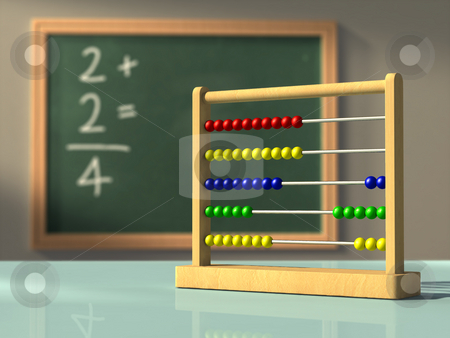 Simple mathematics stock photo, Abacus in front of a chalkboard, used to solve simple calculations. Digital illustration. by Andrea Danti