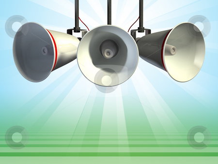 Megaphones stock photo, Three megaphones, clipping path included allows to remove subject from background. Digital illustration by Andrea Danti