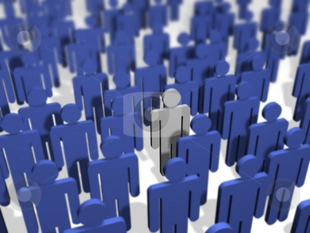 Different Person stock photo, Illustration of a crowd of people, All coloured blue apart from one. by Darren Whittingham
