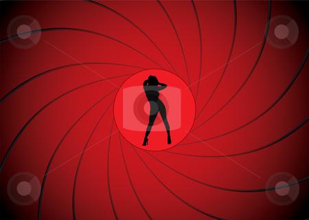 Bond gun barrel stock vector clipart, Sexy women dancing in a gun barrel sight like james bond by Michael Travers