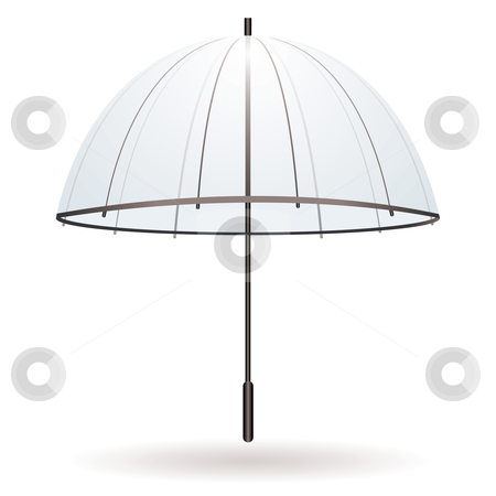 Transparent umbrella stock vector clipart, Illustration of a transparent umbrella with black handle by Michael Travers