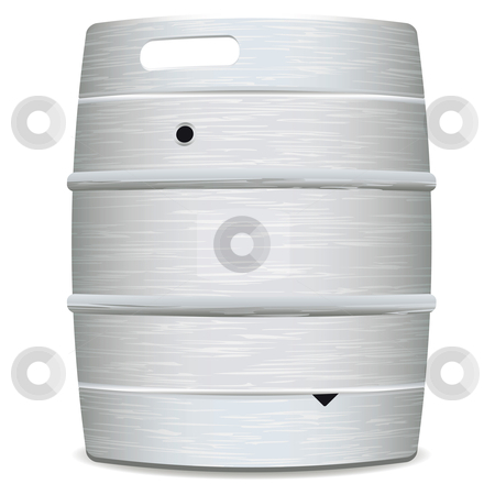 Metal beer keg stock vector clipart, Illustrated metal beer keg with grained surface and shadow by Michael Travers