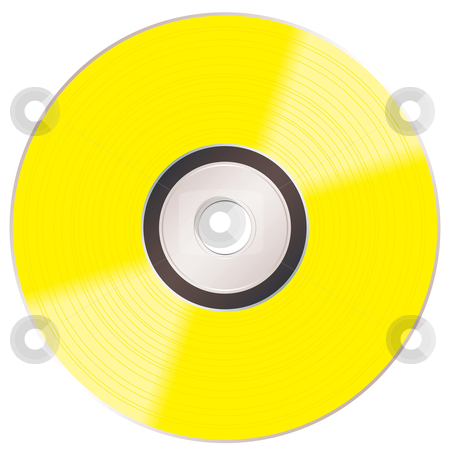 Shiny gold cd stock vector clipart, Music compact golden disc album illustration with light reflection by Michael Travers