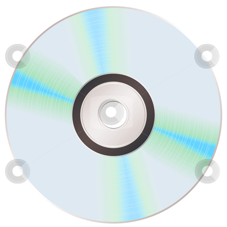 Shiny rainbow cd stock vector clipart, Reverse of a music compact disc with shiny silver surface by Michael Travers