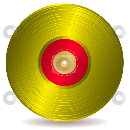 Golden disc record album stock vector clipart, Award winning golden disc record with drop shadow by Michael Travers