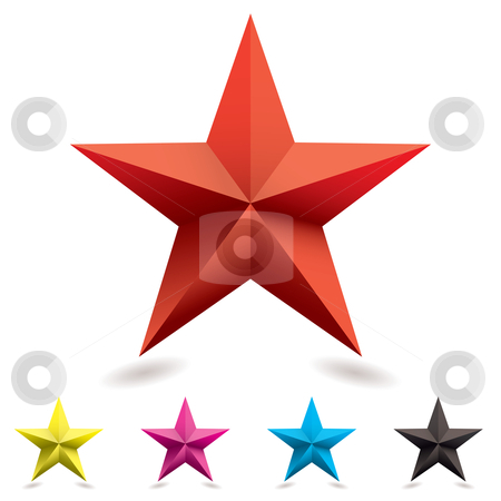 Web icon star shape stock vector clipart, Collection of web icons in star shape with cmyk colors by Michael Travers