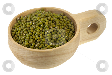 Scoop of mung beans stock photo, Mung beans on a primitive, rustic, wooden scoop (bowl), isolated on white by Marek Uliasz
