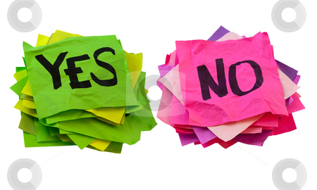 Yes and no - voting, poll or survey concept stock photo, Yes and no handwriting - two stacks of colorful crumpled reminder notes isolated on white by Marek Uliasz