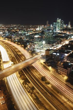 Tel Aviv at Night stock photo, The night Tel Aviv city - View of Tel Aviv at night. by Dmitry Pistrov