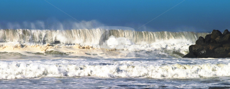 Storm Wave stock photo, Storm wave closeup at the beach in Ventura. by Henrik Lehnerer