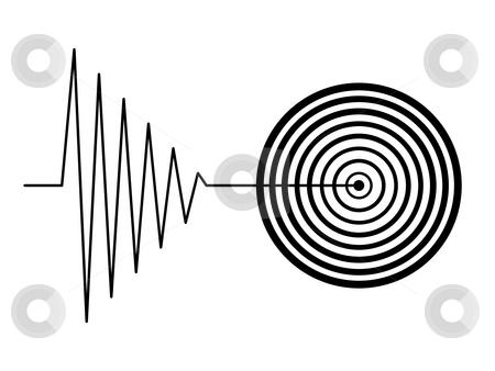 Tremor stock photo, Black tremor earthquake sign on white background by Henrik Lehnerer