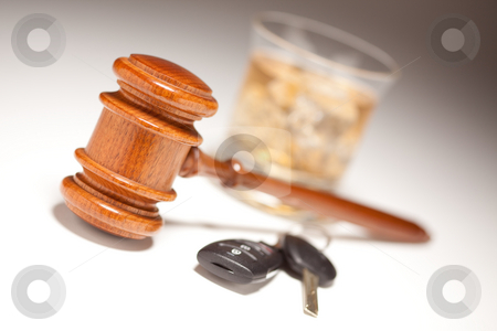 Gavel, Alcoholic Drink & Car Keys stock photo, Gavel, Alcoholic Drink & Car Keys on a Gradated Background - Drinking and Driving Concept. by Andy Dean