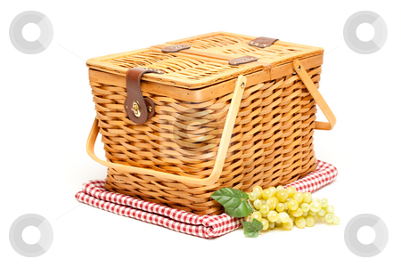 Picnic Basket, Grapes and Folded Blanket Isolated stock photo, Picnic Basket, Grapes and Folded Blanket Isolated on a White Background. by Andy Dean