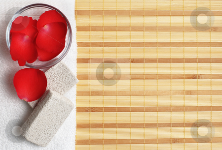 Spa Display stock photo, Brightly lit spa display on top of a bamboo mat. by Christopher Nuzzaco