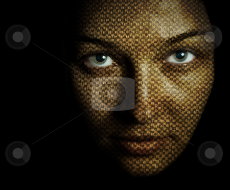Face of woman with textured skin mask stock photo, Fantasy portrait of woman with textured skin mask by Dunca Daniel