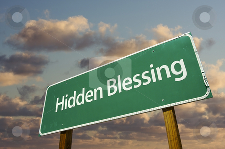 Hidden Blessing Green Road Sign stock photo, Hidden Blessing Green Road Sign with Dramatic Clouds and Sky. by Andy Dean