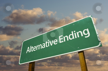 Alternative Ending Green Road Sign stock photo, Alternative Ending Green Road Sign with Dramatic Clouds and Sky. by Andy Dean