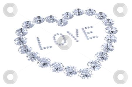 Heart of diamonds with word love stock photo, Heart of diamonds with word love, 3D render by Borislav Marinic