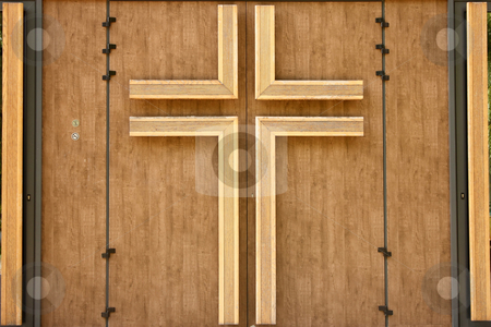 Church door stock photo, Church wooden door with crucifix by Borislav Marinic