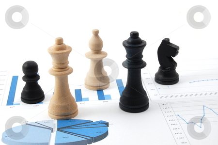 Chess man over business chart stock photo, Chess man over business chart admonish to strategic behavior by Gunnar Pippel