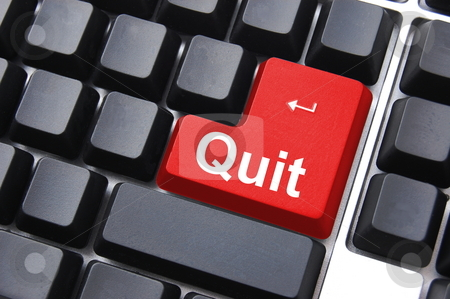 Quit button stock photo, Quit button on black internet computer keyboard by Gunnar Pippel