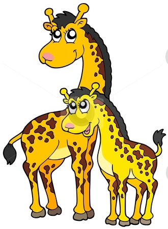 Female And Baby Giraffes Stock Vector