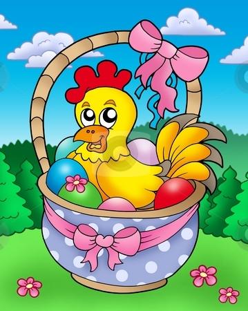 Easter basket with happy chicken stock photo, Easter basket with happy chicken - color illustration. by Klara Viskova