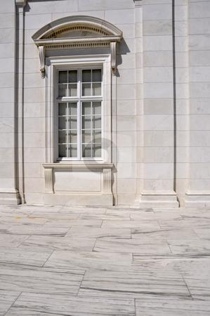 Marble building closeup stock photo, Exterior closeup view of a window for a marble building by Cynthia Farmer
